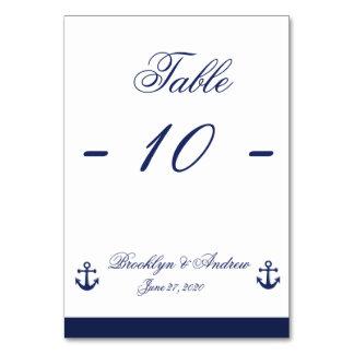 Navy Blue Nautical Wedding Table Cards Table Cards