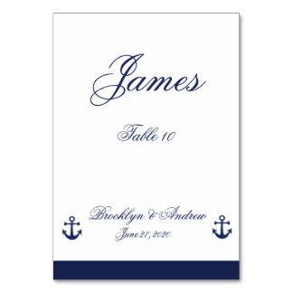 Navy Blue Nautical Wedding Table Cards Table Card