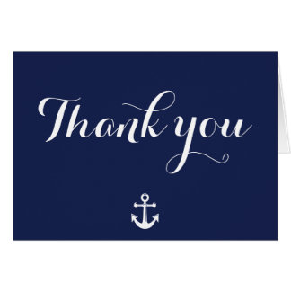 Navy Blue Nautical Wedding Thank You Cards