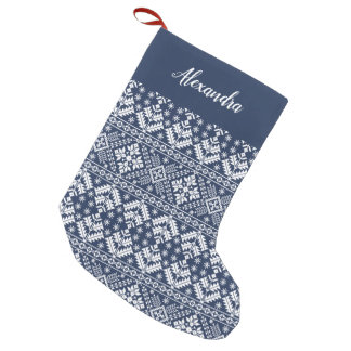 Navy Blue Nordic Sweater Pattern Personalized Small Christmas Stocking