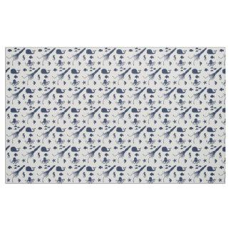 Navy Blue Ocean Animal Pattern Fabric