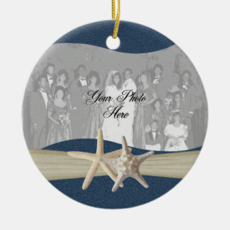 Navy Blue Ocean Starfish Photo Ceramic Ornament