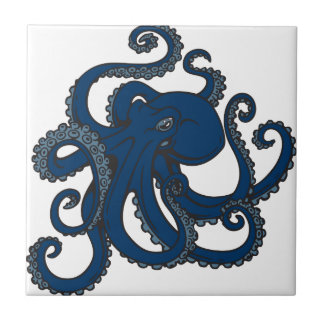 Navy Blue Octopus Small Square Tile