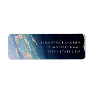 Navy Blue Ombre Agate Gold Wedding Return Address Return Address Label