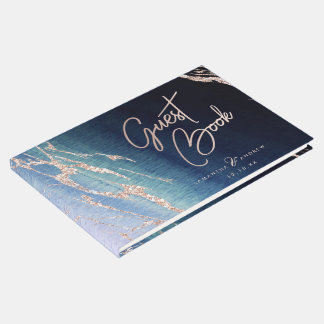 Navy Blue Ombre Agate & Rose Gold Wedding Monogram Guest Book