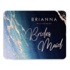 Navy Blue Ombre Agate Will You Be My Bridesmaid Card