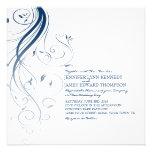 Navy Blue Ombre Flourish Wedding Invitation