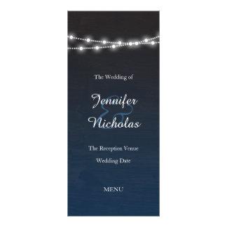 Navy Blue Ombre Night Lights Wedding Menu