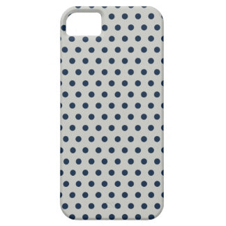 Navy Blue on Gray Tiny Little Polka Dots Pattern iPhone 5 Cases