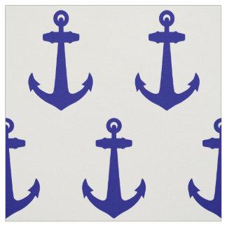Navy Blue On White Coastal Decor Anchor Fabric