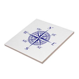 Navy Blue On White Coastal Decor Compass Rose Ceramic Tile