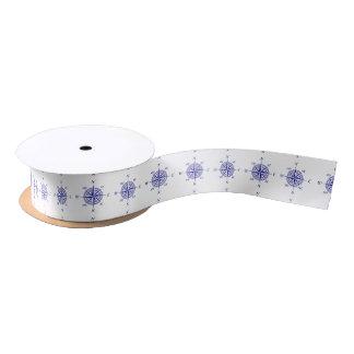 Navy Blue On White Coastal Decor Compass Rose Satin Ribbon