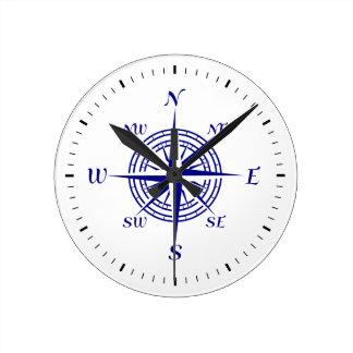 Navy Blue On White Coastal Decor Compass Rose Wallclocks