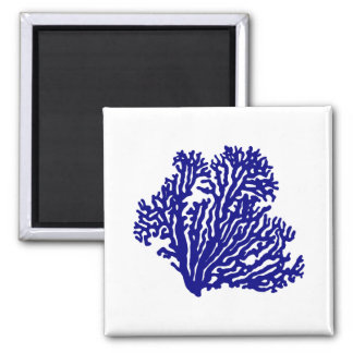 Navy Blue On White Coastal Decor Coral Magnet