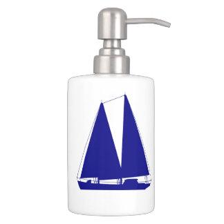 Navy Blue On White Coastal Decor Sailboat Bath Accessory Sets