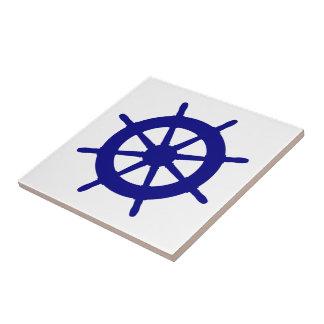 Navy Blue On White Coastal Decor Ship Wheel Tile