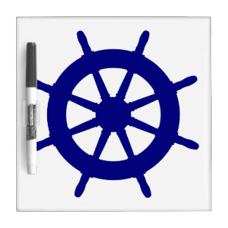 Navy Blue On White Coastal Ship Helm Dry-Erase Board