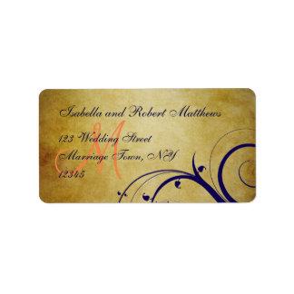Navy Blue Orange Vintage Wedding Address Label