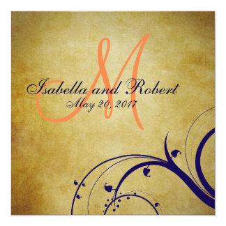 "Navy Blue Orange Vintage Wedding Invitation 5.25"" Square Invitation Card"