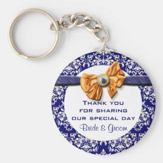 "Navy blue orange wedding ""thank you"" theme basic round button key ring"