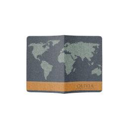 Orange world map gifts on zazzle au navy blue orange world map earth felt monogram passport holder gumiabroncs Images