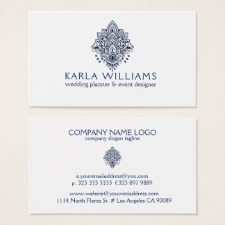 Navy-Blue Paisley Lace Ornament Business Card