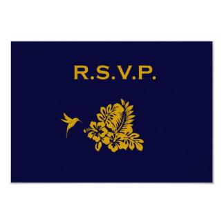 Navy Blue Passport Hibiscus Wedding Response RSVP Card