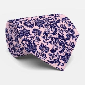 Navy Blue & Pastel Pink Floral Damasks Pattern Tie