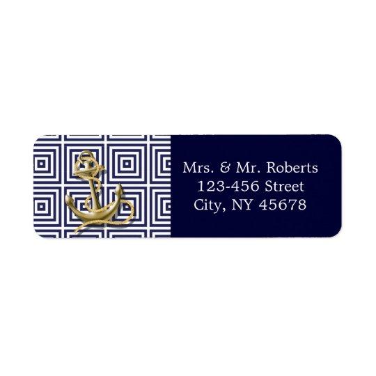 Navy Blue pattern anchor nautical wedding Return Address Label