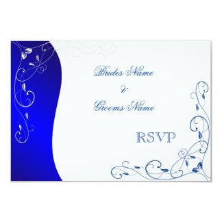 Navy Blue Pattern RSVP cards 9 Cm X 13 Cm Invitation Card