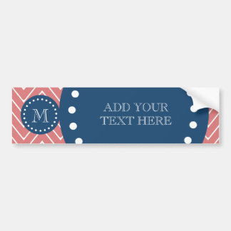 Navy Blue, Peach Chevron Pattern | Your Monogram Car Bumper Sticker