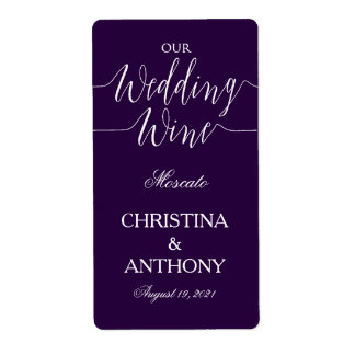 Navy Blue Personalized Wedding Wine Label