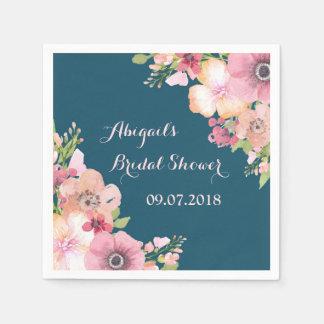 Navy Blue Pink Bridal Shower Napkins Disposable Serviette
