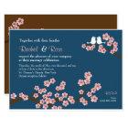 Navy Blue & Pink Cherry Blossom Garden Wedding Card