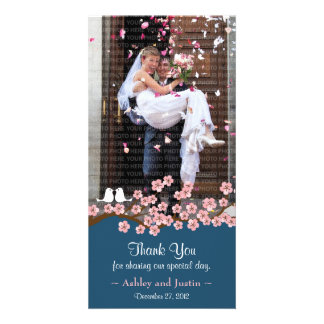 Navy Blue & Pink Cherry Blossom Photo Thank You Personalised Photo Card