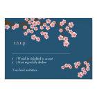 Navy Blue & Pink Cherry Blossom Spring Wedding Card