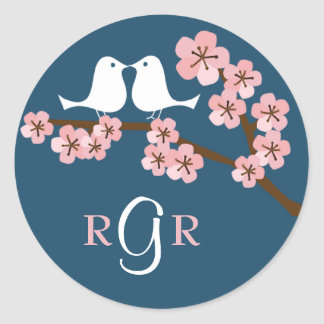 Navy Blue & Pink Cherry Blossom Spring Wedding Classic Round Sticker