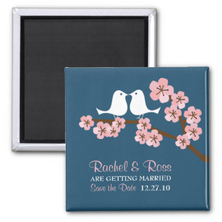 Navy Blue & Pink Cherry Blossom Spring Wedding Magnet