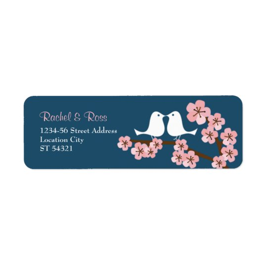 Navy Blue & Pink Cherry Blossom Spring Wedding Return Address Label