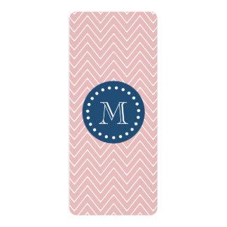 Navy Blue, Pink Chevron Pattern | Your Monogram 10 Cm X 24 Cm Invitation Card