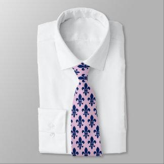 Navy Blue Pink Fleur De Lis Pattern Tie