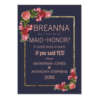 Navy Blue Pink Floral Gold Maid of Honour Card