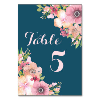 Navy Blue Pink Floral Wedding Table Number