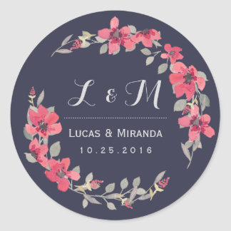 Navy Blue Pink Floral Wreath Wedding Favor Sticker