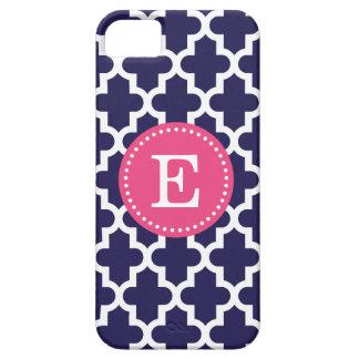 Navy Blue & Pink Modern Moroccan Custom Monogram iPhone 5 Case