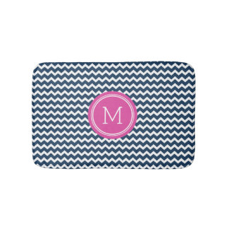 Navy Blue Pink Monogram Chevron Stripes Bathmat