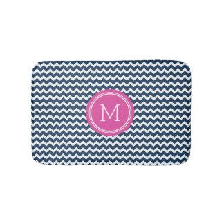 Navy Blue Pink Monogram Chevron Stripes Bathmat Bath Mats