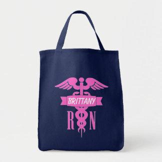 Navy Blue & Pink Registered Nurse Customizable Bag