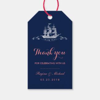 Navy Blue Pink Vintage Ship Beach Wedding Gift Tag