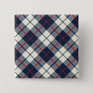 Navy Blue Plaid Pattern 15 Cm Square Badge
